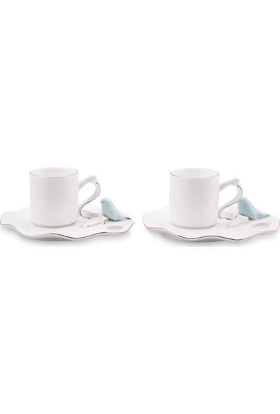 Karaca Lucca Birds 2 Kişilik Kahve Fincan Takımı Mint