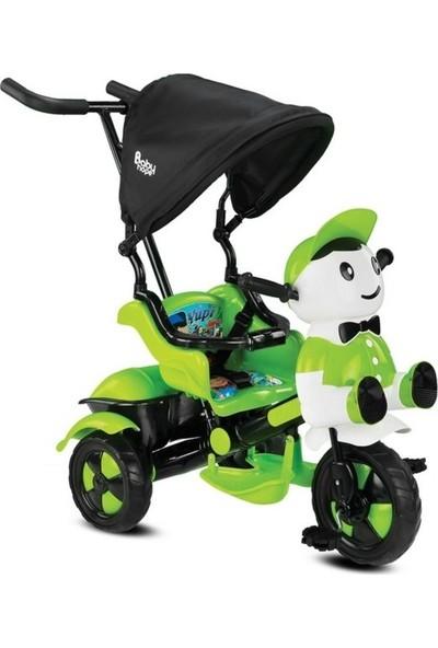 BabyHope Yupi Panda Ebeveyn Kontrollü Üç Teker Bisiklet - Yeşil