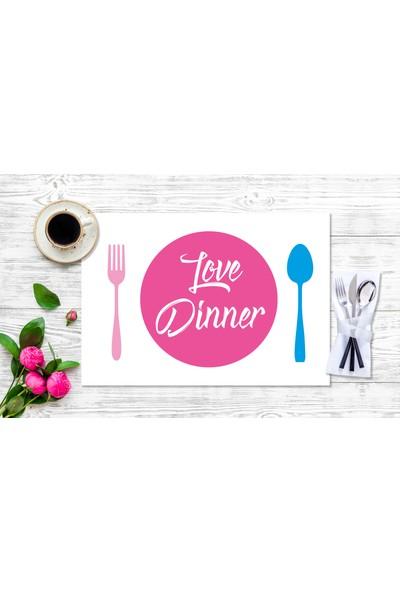 BRN Love Dinner' Pink Görselli Amerikan Servis 4'lü
