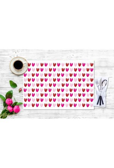 BRN Renkli Kalp Desenli Amerikan Servis 4'lü