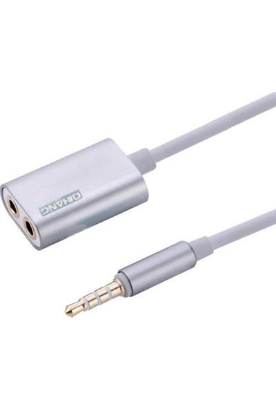 OEM Kulaklık Çoklayıcı 3.5mm To 2x Dişi Kulaklık Çoklayıcı Gümüş