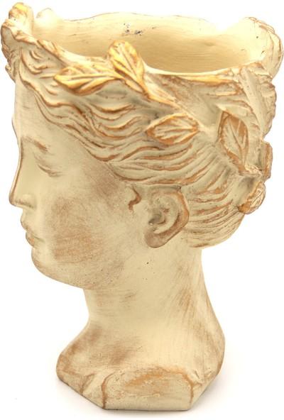 Hediye Biziz Antik Helen Kafası Büst Beton Saksı Krem Altın