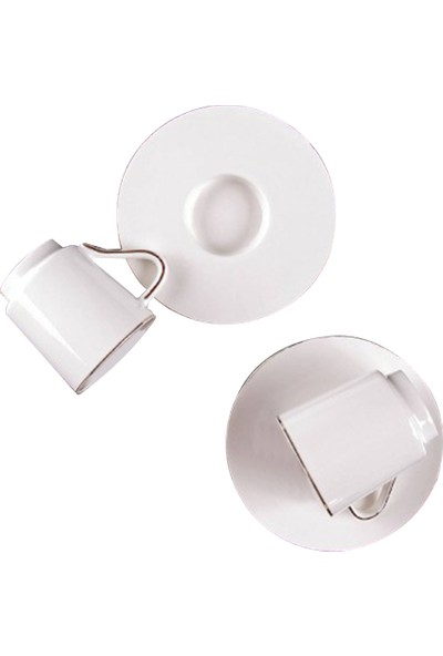 Kitchen World Oturtma Tabaklı Sade 2'li Porselen Kahve Fincan Takımı