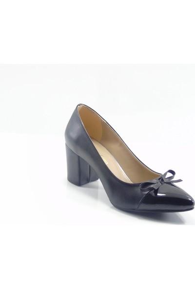 Moda Milano Siyah Fiyonklu Topuklu Kadın Ayakkabı