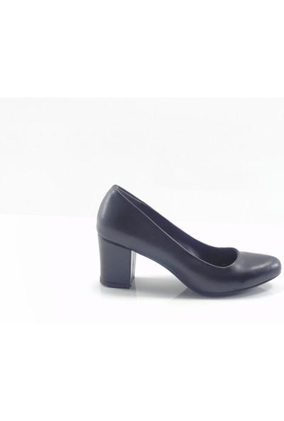 By Ercan Siyah Cilt Topuklu Kadın Ayakkabı