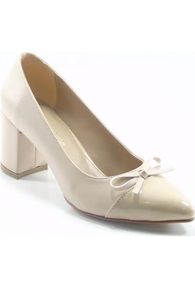 Moda Milano Ten Rengi Fiyonklu Topuklu Kadın Ayakkabı