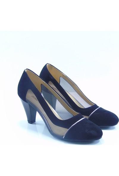 Moda Milano Siyah Süet Fileli Topuklu Kadın Ayakkabı