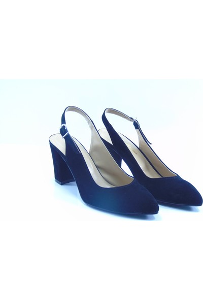 By Ercan Siyah Süet Arkası Açık Sivri Burun Topuklu Kadın Ayakkabı