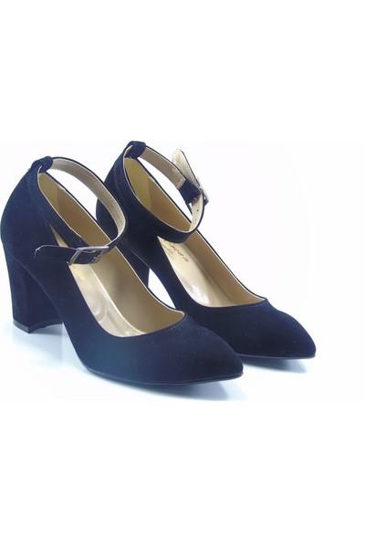 By Ercan Siyah Cilt Bilekten Bağlı Sivri Burun Topuklu Kadın Ayakkabı