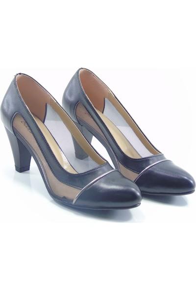 Moda Milano Siyah Fileli Topuklu Kadın Ayakkabı