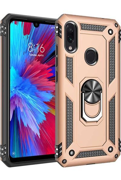 Fiber Aksesuar Xiaomi Redmi Note 7 Kılıf Vega Tank Yüzüklü Standlı Silikon Gold + 5D Tempered Ekran Koruyucu