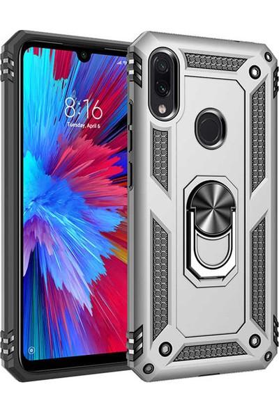 Fiber Aksesuar Xiaomi Redmi Note 7 Kılıf Vega Tank Yüzüklü Standlı Silikon Gri + 5D Tempered Ekran Koruyucu