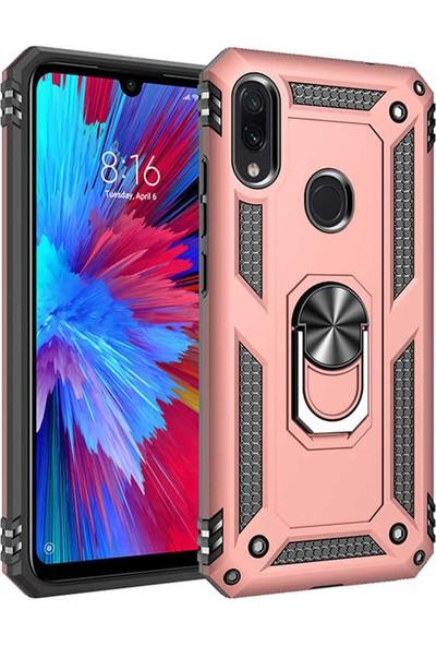 Fiber Aksesuar Xiaomi Redmi Note 7 Kılıf Vega Tank Yüzüklü Standlı Silikon Rose Gold + Tempered Ekran Koruyucu