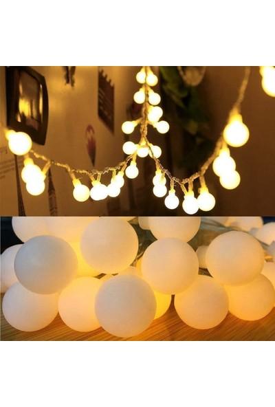 Led Dükkanı 30 LED 5 m Pilli Sarı Opak Ağaç Noel Yılbaşı Bahçe Balkon Lambası Dolama Işık