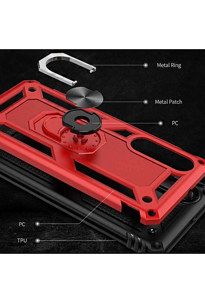 Coverzone Huawei Mate 30 Lite Shockproof Standlı Yüzük Tutuculu Mega Case Kılıf Lacivert