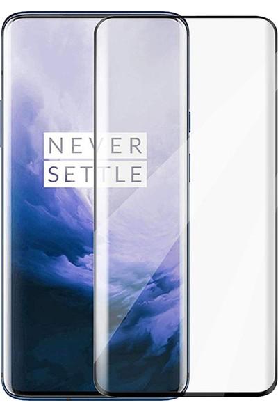 CoverZone One Plus 7 Pro Ekran Koruyucu Tam Kaplayan Tempered Ekran Koruyucu Siyah