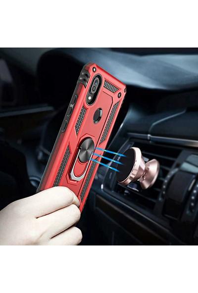 Coverzone Xiaomi Mi A3 Shockproof Standlı Yüzük Tutuculu Mega Case Kılıf Pembe Altın