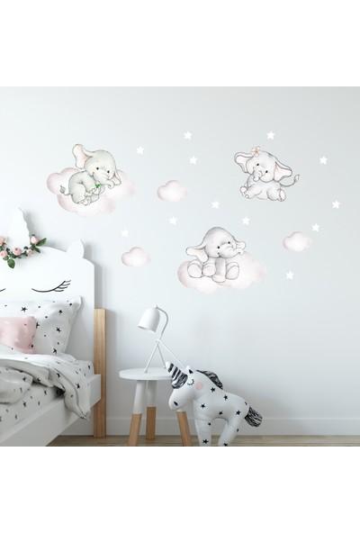 Sim Tasarım Sevimli Uçan Filler Duvar Stickerı