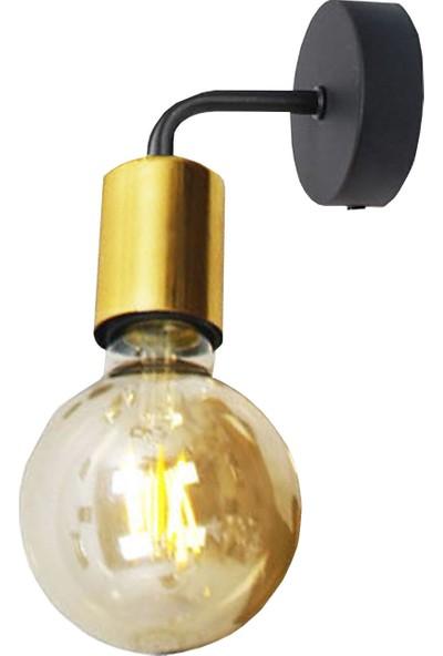 Taşcan Aydınlatma Lisa Tekli Siyah Gold Aplik-Aşağı Bakan