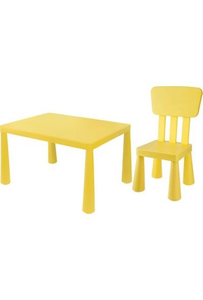Asz Çocuk Oyun ve Çalışma Masa Sandalye Seti - Sarı