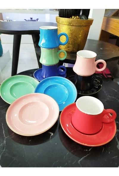 Tekbir 6'lı Porselen Karışık Renkli Kahve Fincan Takımı