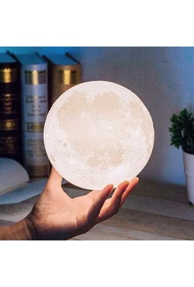 Hediye Kapında Ahşap Ayaklı Dokunmatik Şarjlı Ay Küre Gece Lambası