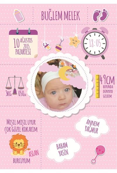 Turuncu Bir Kafa Doğum Anı Panosu Kız Bebek Resimli