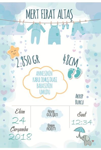 Turuncu Bir Kafa Doğum Anı Panosu Erkek Bebek