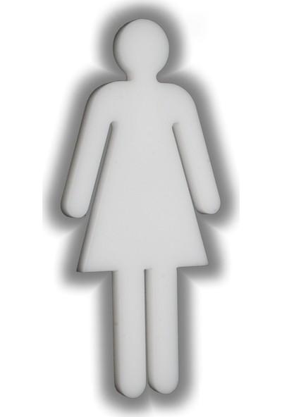 Passpano Dekupe Sembol BAYAN WC Beyaz 12 cm