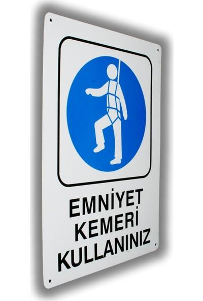 PassPano Metal Iş Güvenliği Levha EMNİYET KEMERİ KULLANINIZ 25,5 x 36 cm