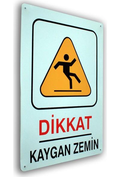 PassPano Metal Iş Güvenliği Levha DİKKAT KAYGAN ZEMİN 25,5 x 36 cm