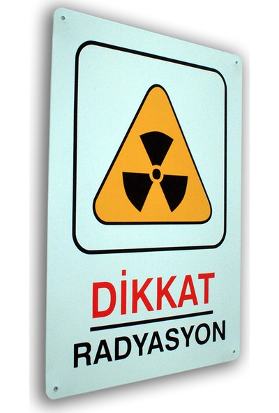 PassPano Metal Iş Güvenliği Levha DİKKAT RADYASYON 25,5 x 36 cm