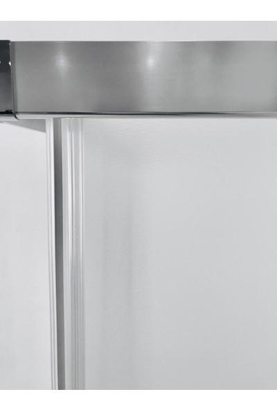 Durul Duşakabin 100 x 90 cm Dikdörtgen Buzlu Duşakabin Duş Teknesiz
