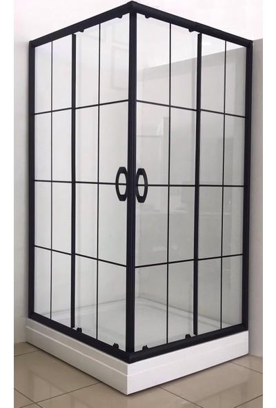 Durul Duşakabin 80 x 80 cm Kare 5 mm Şeffaf Siyah Profil Özel Seri Duşakabin + Duş Teknesi H:205 cm