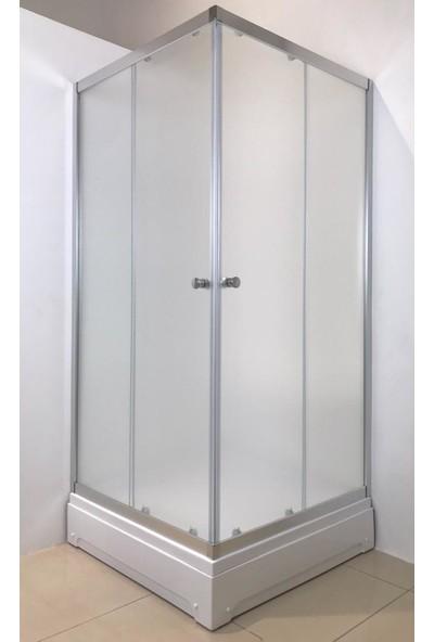 Durul Duşakabin 80 x 80 cm Kare Buzlu Duşakabin + Duş Teknesi H:195 cm