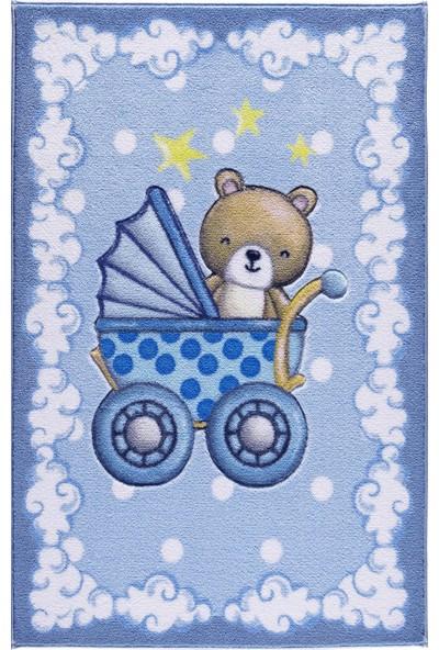 Confetti Teddy Buggy 100X150 K.mavi Oymalı Çocuk Halısı