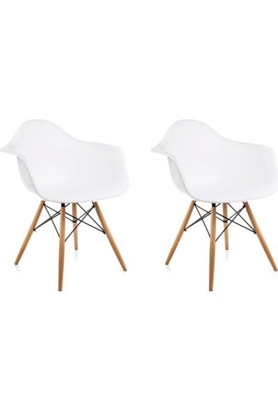 Dorcia Home Kolçaklı Beyaz Eames Sandalye 2 Adet Cafe Balkon Mutfak Sandalyesi