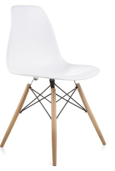 Dorcia Home Beyaz Eames Sandalye 4 Adet Cafe Balkon Mutfak Sandalyesi