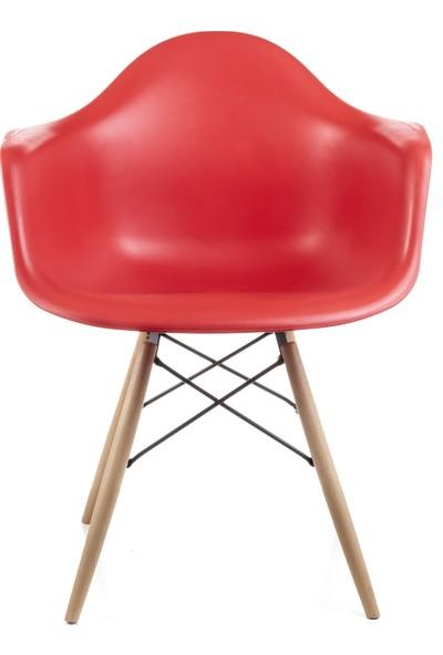 Dorcia Home Kolçaklı Kırmızı Eames Sandalye 4 Adet Cafe Balkon Mutfak Sandalyesi