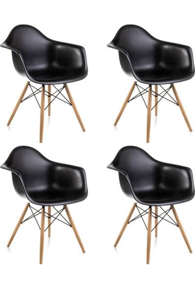 Dorcia Home Kolçaklı Siyah Eames Sandalye 4 Adet Cafe Balkon Mutfak Sandalyesi
