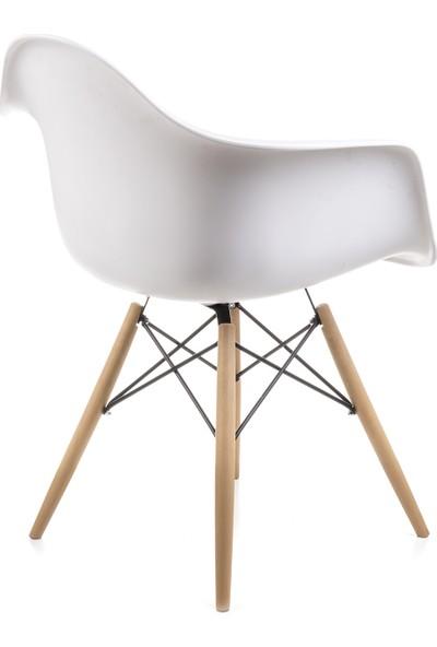 Dorcia Home Kolçaklı Beyaz Eames Sandalye Cafe Balkon Mutfak Sandalyesi