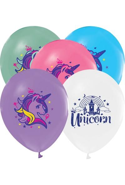 Parti Burada Unicorn Balon 10'lu Helyumlu Renkli