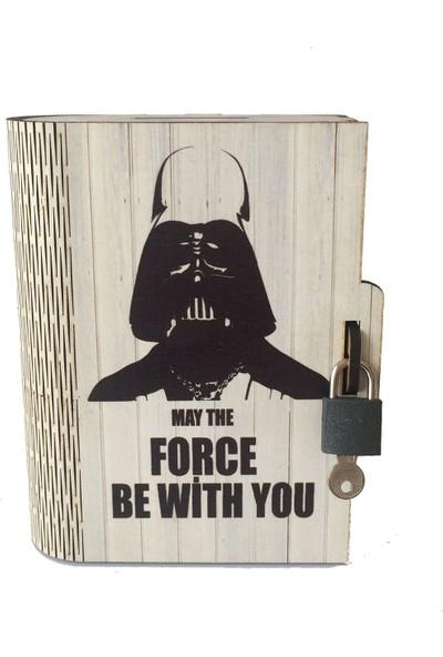Pratik Dekor Kitap Kumbara Kilitli Ahşap Kutu Darth Vader