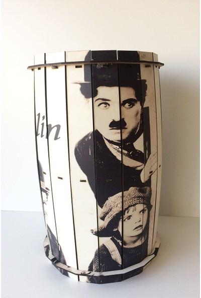 Pratik Dekor Ahşap Fıçı Sehpa Chaplin