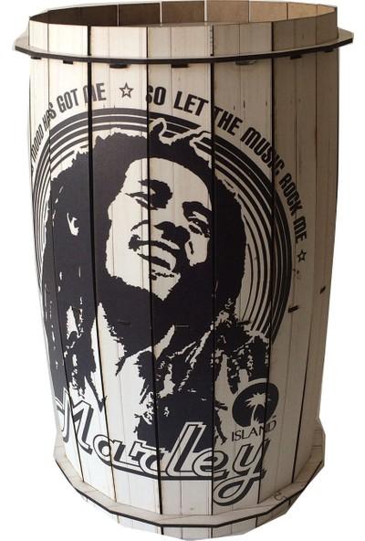 Pratik Dekor Ahşap Fıçı Sehpa Bob Marley