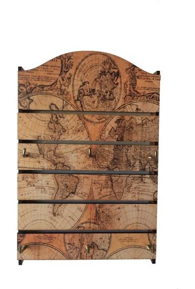 Pratik Dekor Ahşap Askılık Anahtarlık Old Map