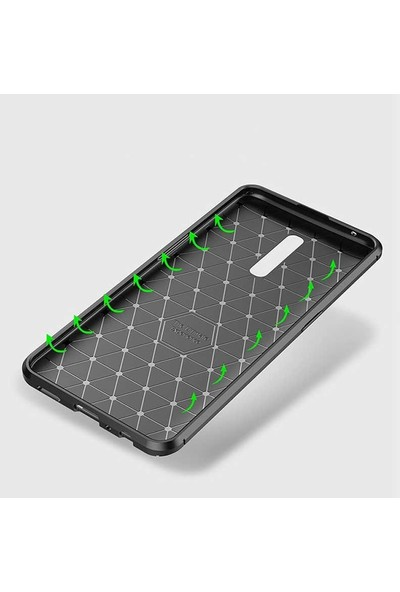 Case Street Oppo Reno Z Kılıf Negro Karbon Dizayn Silikon + Nano Glass Siyah