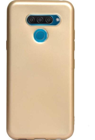 Case Street Lg Q60 Kılıf Premier Silikon Esnek Koruma + Nano Glass Gold