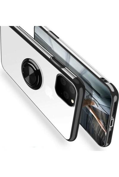 Case Street Apple iPhone 11 Pro Max Kılıf Gess Yüzüklü Mıknatıslı Silikon Siyah
