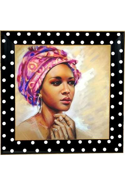 Bahat Kanvas Tablo Camlı Ahşap Renkli Çerçeveli Afrikalı Siyahi